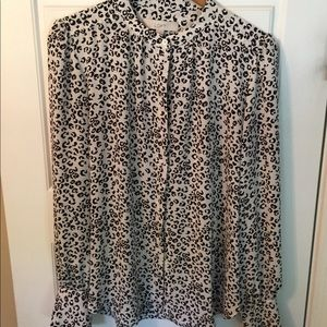 White with black animal print blouse from Loft